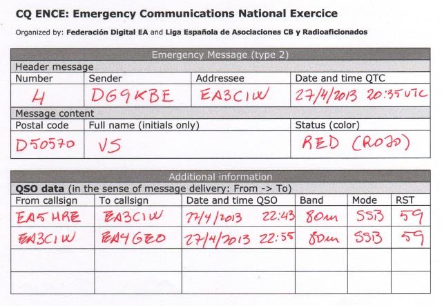 Mensaje CQ ENCE 2013 de DG9KBE