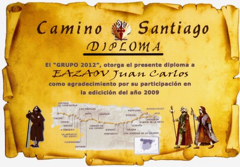 diplomas para imprimir. Diploma Camino Santiago